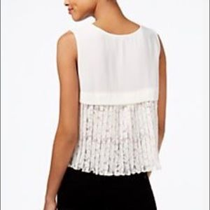 Rachel Roy Pleated Lace Back Top Natural Small NWT